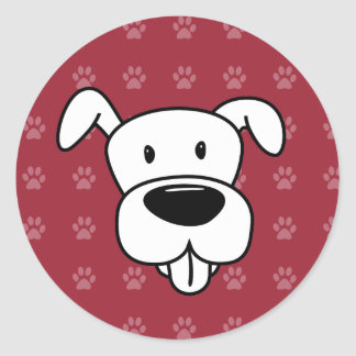Pawprints de rouge de pitbull de bande dessinée de sticker rond
