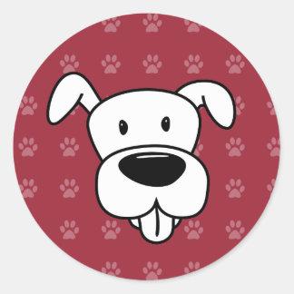 Pawprints de rouge de pitbull de bande dessinée de sticker rond