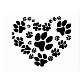 Paws Heart Cartes Postales