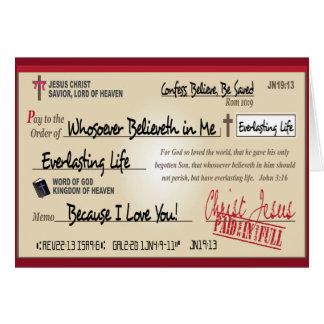 Payé entièrement économisé par le chrétien de cartes de vœux