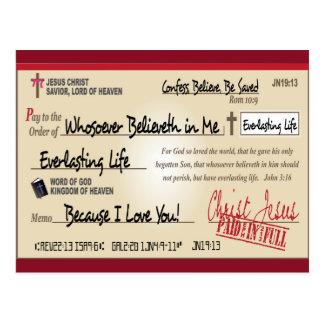 Payé entièrement économisé par le chrétien de cartes postales