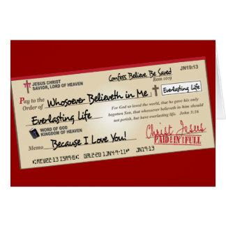 Payé entièrement économisé par le contrôle de cartes de vœux