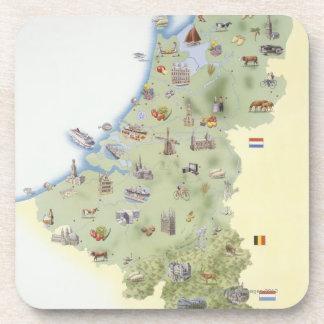 Pays-Bas, carte montrant distinguant des Dessous-de-verre
