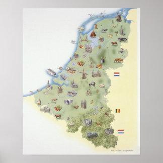 Pays-Bas, carte montrant distinguant des Posters