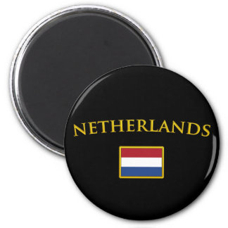 Pays-Bas d'or Magnet Rond 8 Cm