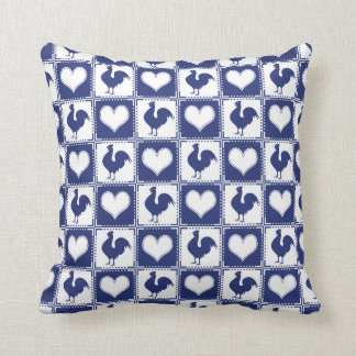 Pays de coq et de coeur bleu et blanc de ferme coussins carrés