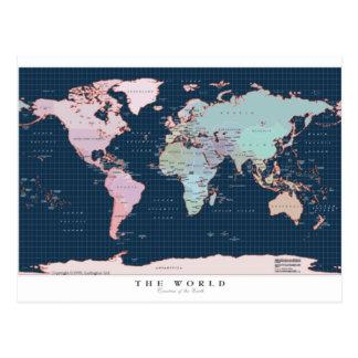 Pays de la carte du monde carte postale