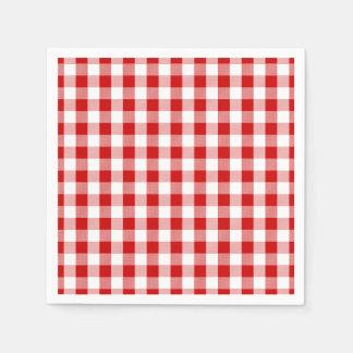 Pays de plaid de guingan de contrôles de rouge et serviettes en papier