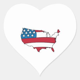 Pays des USA Autocollant En Cœur