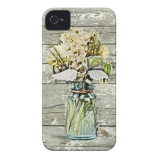 Pays français en bois de grange de fleur sauvage coques iPhone 4 Case-Mate
