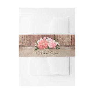 Pays rustique floral rose de toile de jute et en bandeau de faire-part