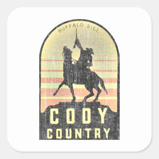 Pays Wyoming de Cody Sticker Carré
