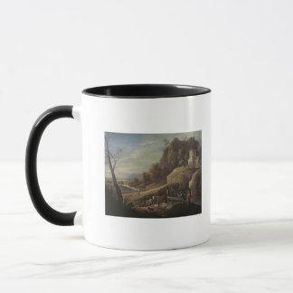 Paysage avec des agriculteurs tendant leurs mug
