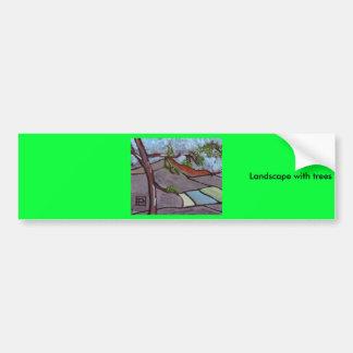 paysage avec des arbres autocollants pour voiture