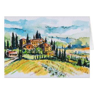 Paysage avec des arbres de ville et de cyprès carte de vœux