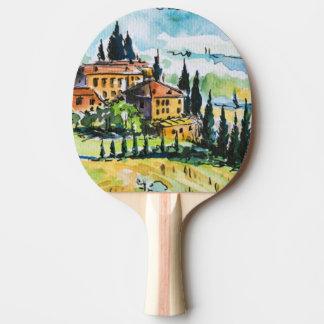 Paysage avec des arbres de ville et de cyprès raquette tennis de table