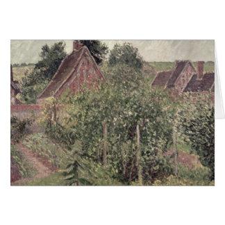 Paysage avec des toits de cottage, 1899 carte de vœux