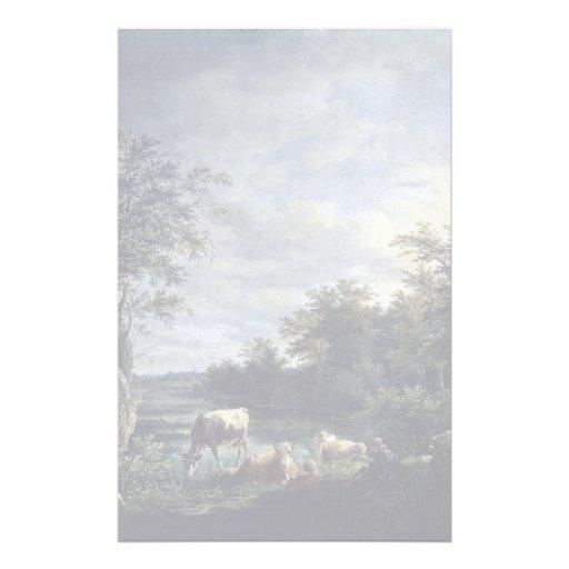 Paysage avec des vaches par Wagenbauer Joseph maxi Papier À Lettre