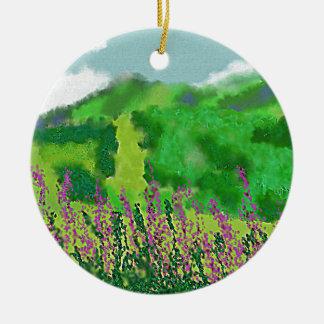 Paysage avec l'art de fleurs ornement rond en céramique
