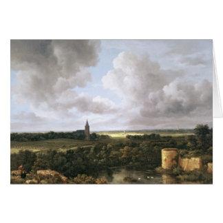 Paysage avec le château et l'église ruinés carte de vœux