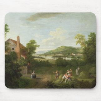 Paysage avec les ouvriers agricoles, c.1730-40 (hu tapis de souris