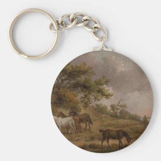 Paysage avec quatre chevaux par George Morland Porte-clé Rond