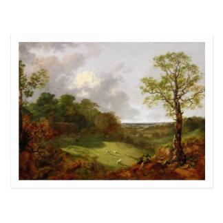 Paysage boisé avec un cottage, des moutons et un carte postale