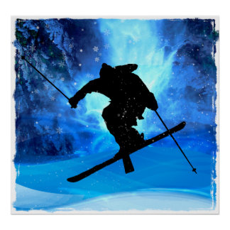 Paysage d hiver et skieur de style libre posters