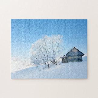 Paysage de cabine d'hiver puzzle