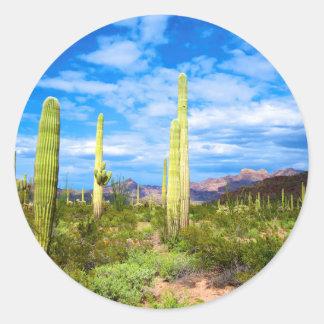 Paysage de cactus de désert, Arizona Sticker Rond