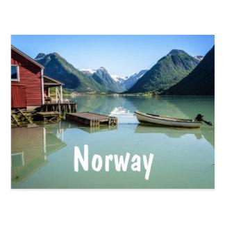 Paysage de fjord en carte postale des textes de la