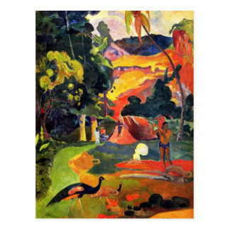 Paysage de Gauguin avec la carte postale de paons