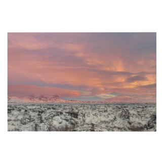 Paysage de gisement de lave de Milou, Islande Impression Sur Bois