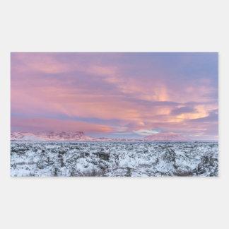 Paysage de gisement de lave de Milou, Islande Sticker Rectangulaire