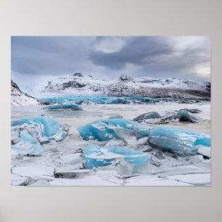 Paysage de glace de glacier, Islande Poster