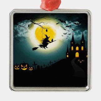 Paysage de Halloween Ornement Carré Argenté