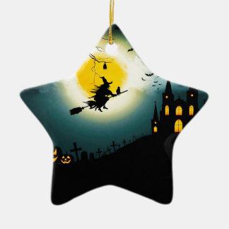 Paysage de Halloween Ornement Étoile En Céramique