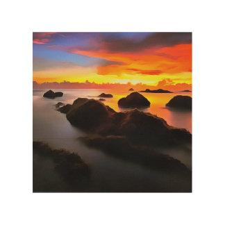 Paysage de marine au lever de soleil impression sur bois