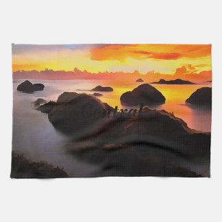 Paysage de marine au lever de soleil linge de cuisine