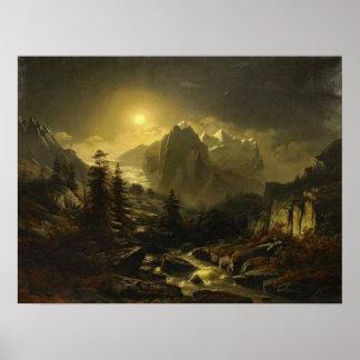 Paysage de montagne par nuit poster