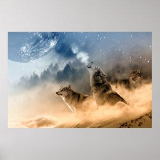 Paysage de nature de brouillard de lune de loups affiche