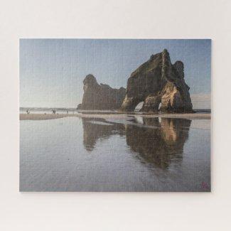 Paysage de puzzle de plage de la Nouvelle Zélande