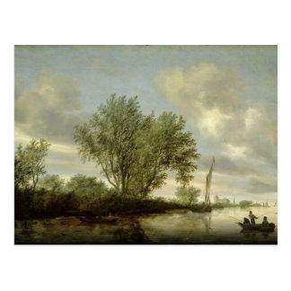 Paysage de rivière, 1645 carte postale