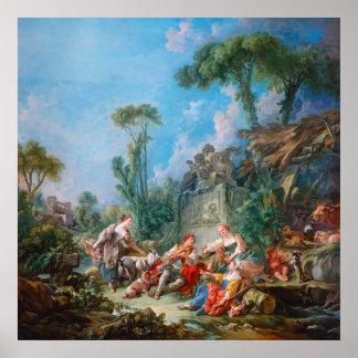 paysage de rococos de l'idylle du berger de bouche posters