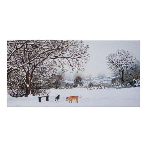 Paysage de scène de neige de chien avec la peintur