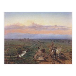 Paysage de soirée avec le troupeau de chèvres par carte postale
