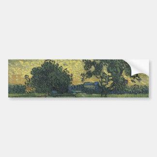 Paysage de Van Gogh au crépuscule 1890 Autocollant De Voiture