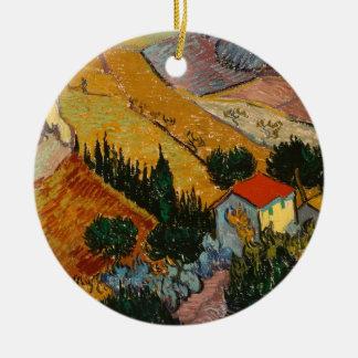 Paysage de Vincent van Gogh | avec la Chambre et Ornement Rond En Céramique