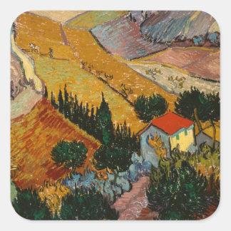 Paysage de Vincent van Gogh | avec la Chambre et Sticker Carré