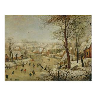 Paysage d'hiver avec le piège d'oiseau (huile sur cartes postales